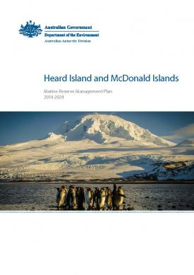 Heard Island and McDonald Islands Marine Reserve Management Plan cover - image of Mawson Peak from Atlas Cove