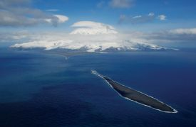 Aerial shot of Heard Island and Elephant Spit.